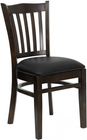 Hercules Series Walnut Finished Vertical Slat Back Wooden Restaurant Chair - Black Vinyl Seat