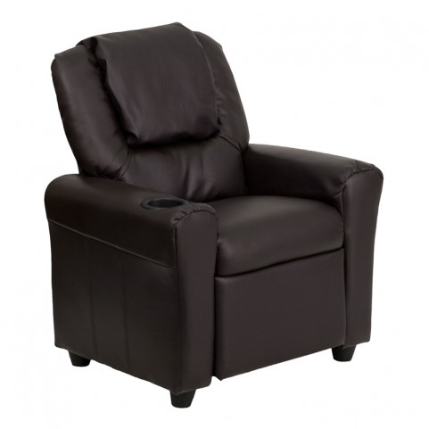 Brown Leather Kids Recliner with Cup Holder and Headrest