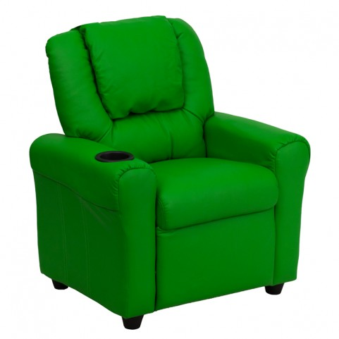 Green Vinyl Kids Recliner with Cup Holder and Headrest
