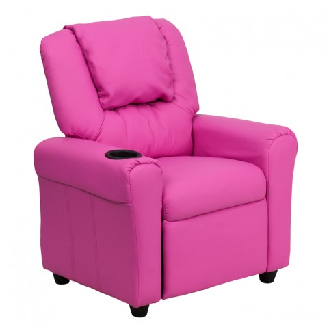 Hot Pink Vinyl Kids Recliner with Cup Holder and Headrest