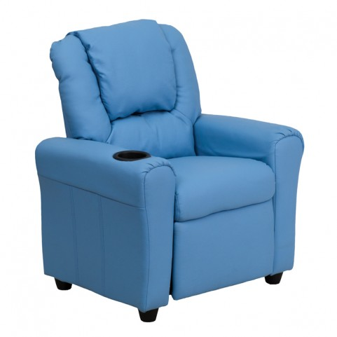 Light Blue Vinyl Kids Recliner with Cup Holder and Headrest