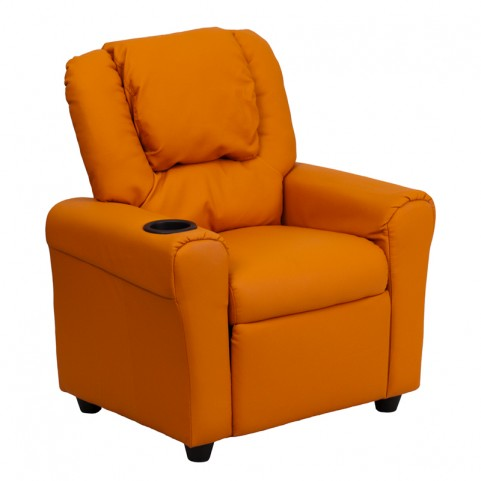 Orange Vinyl Kids Recliner with Cup Holder and Headrest