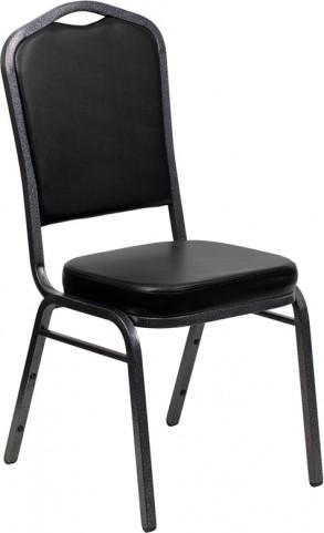 Hercules Series Crown Back Black & Silver Vinyl Banquet Chair