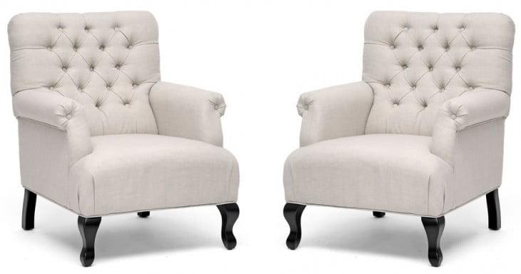 York Beige Linen Club Chair Set of 2