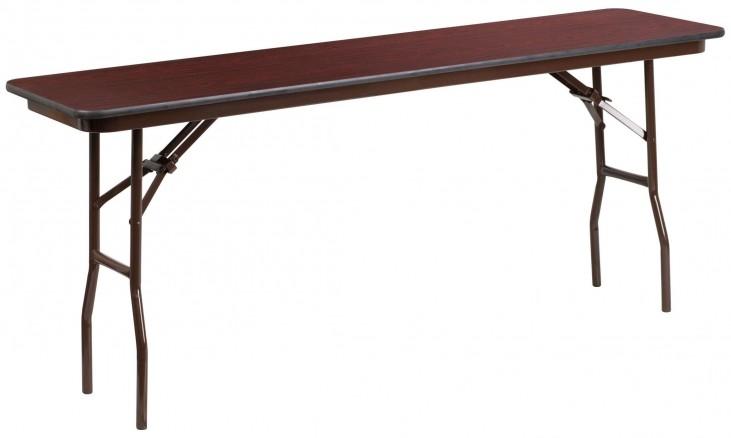 """72"""" Rectangular Walnut Melamine Laminate Folding Training Table"""