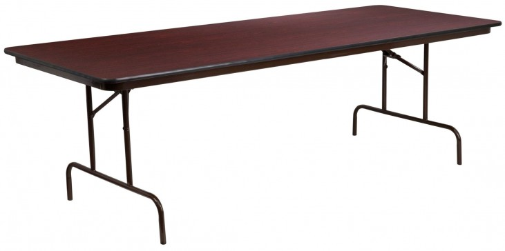 "36""W Rectangular Walnut Melamine Laminate Folding Banquet Table"