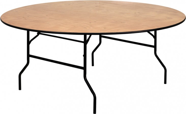 72'' Round Wood Folding Banquet Table with Unfinished Top