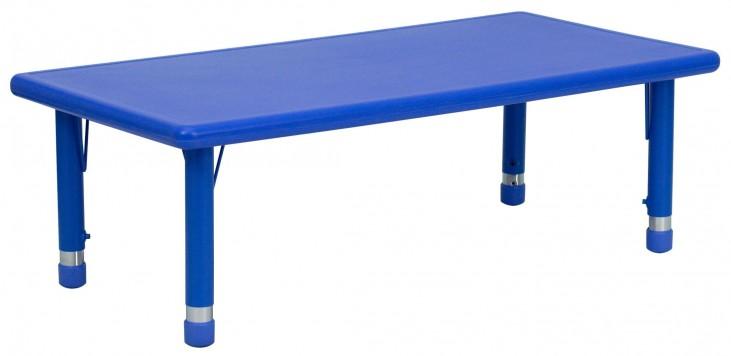 48'' Adjustable Height Rectangular Blue Plastic Activity Table
