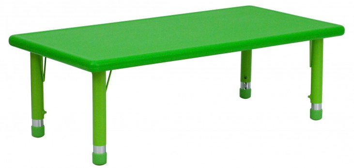 48'' Adjustable Height Rectangular Green Plastic Activity Table