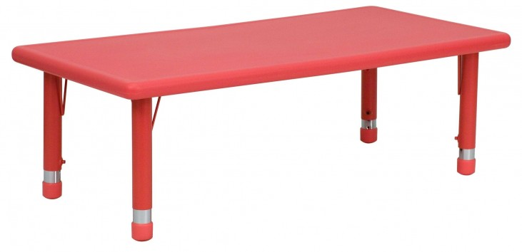 48'' Adjustable Height Rectangular Red Plastic Activity Table