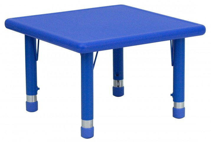 "24"" Square Height Adjustable Blue Plastic Activity Table"