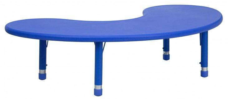 Adjustable Height Half-Moon Blue Plastic Activity Table