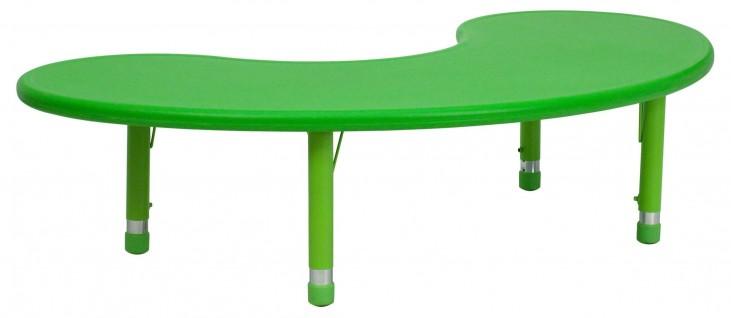 Adjustable Height Half-Moon Green Plastic Activity Table