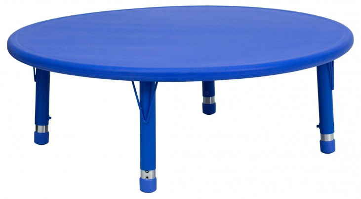 """45"""" Round Height Adjustable Blue Plastic Activity Table"""