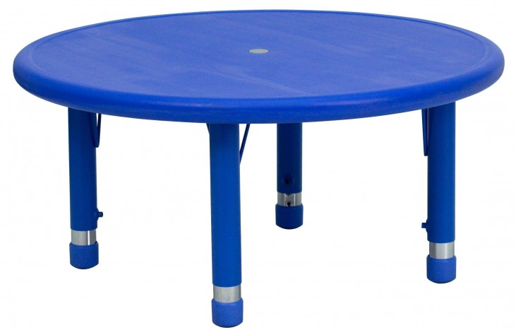 "33"" Round Height Adjustable Blue Plastic Activity Table"