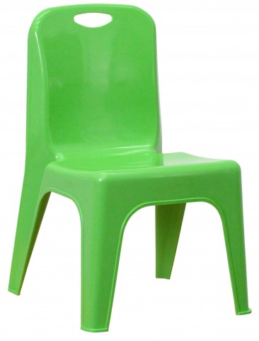 Green Plastic Stackable School Chair with Carrying Handle