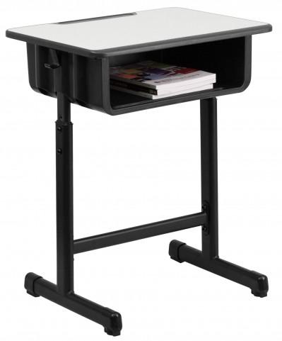 Gray Top Student Desk with Adjustable Height Black Pedestal Frame