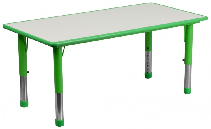 47.25'' Adjustable Height Rectangular Green Plastic Activity Table