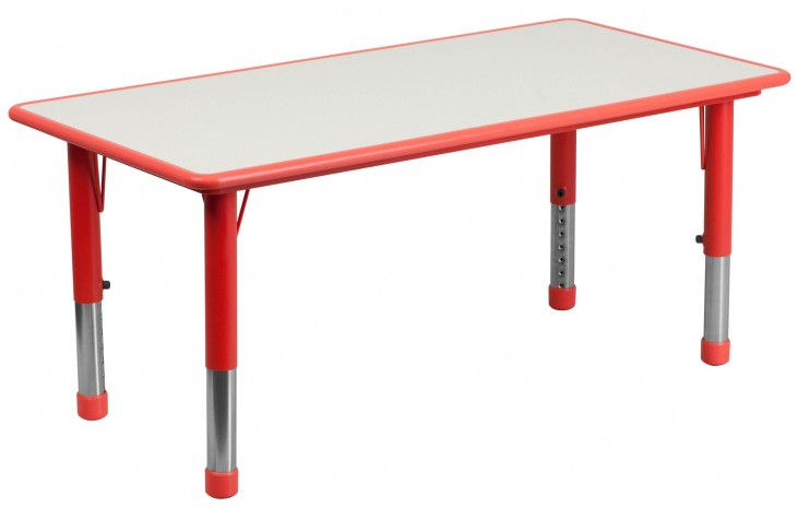47.25'' Adjustable Height Rectangular Red Plastic Activity Table