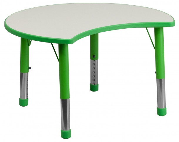 Adjustable Height Cutout Circle Green Plastic Activity Table