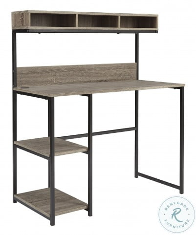 Daylicrew Grayish Brown Home Office Desk with Hutch