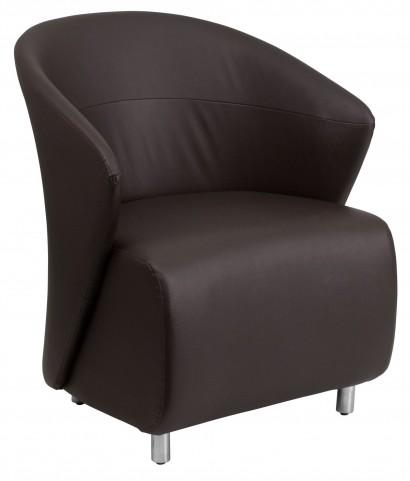 Dark Brown Leather Reception Chair