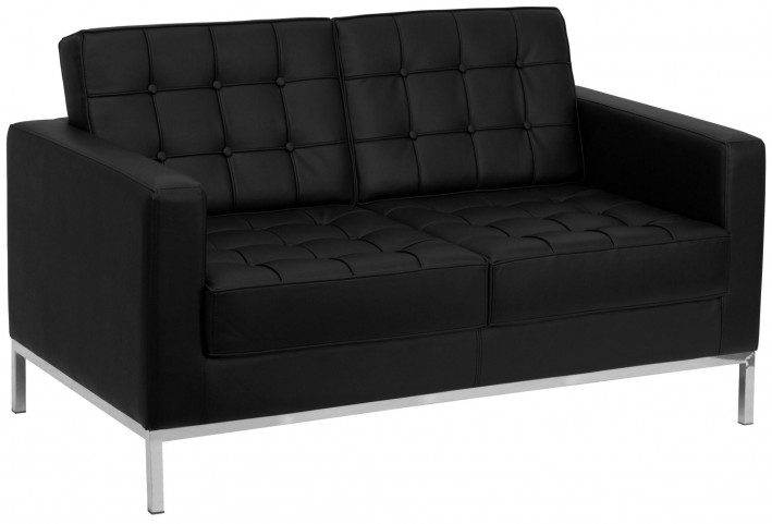 Hercules Lacey Series Black Leather Loveseat