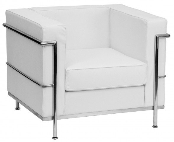 Hercules Regal Series White Leather Chair