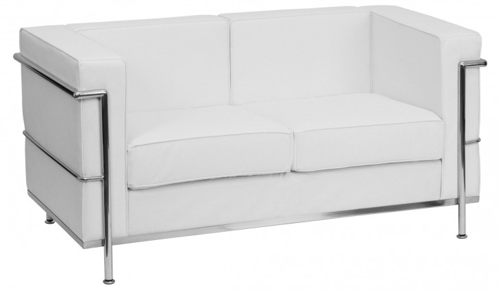 Hercules Regal Series White Leather Loveseat