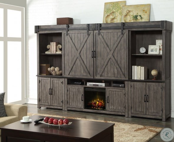 Storehouse Gray Entertainment Wall Unit With Fireplace From Legends