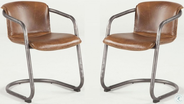 Phenomenal Regina Distressed Brown Leather Dining Chair Set Of 2 Gmtry Best Dining Table And Chair Ideas Images Gmtryco