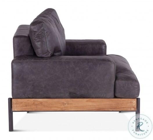 Chiavari Distressed Antique Ebony Leather Living Room Set
