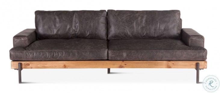 Chiavari Distressed Antique Ebony Leather Sofa