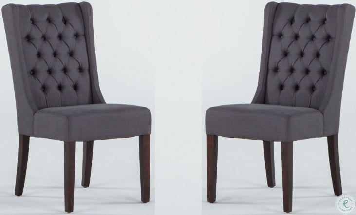 Chloe Dark Grey Linen Tufted Dining Chair Set Of 2 From Home Trends Coleman Furniture