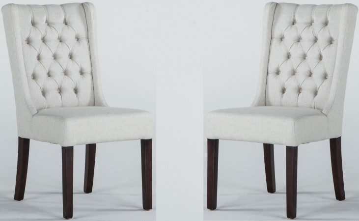 Light Gray Linen Dining Chairs: Chloe Off White Linen Tufted Dining Chair Set Of 2 From