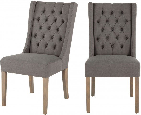 Light Gray Linen Dining Chairs: Chloe Grey Linen Tufted Dining Chair Set Of 2 From Home