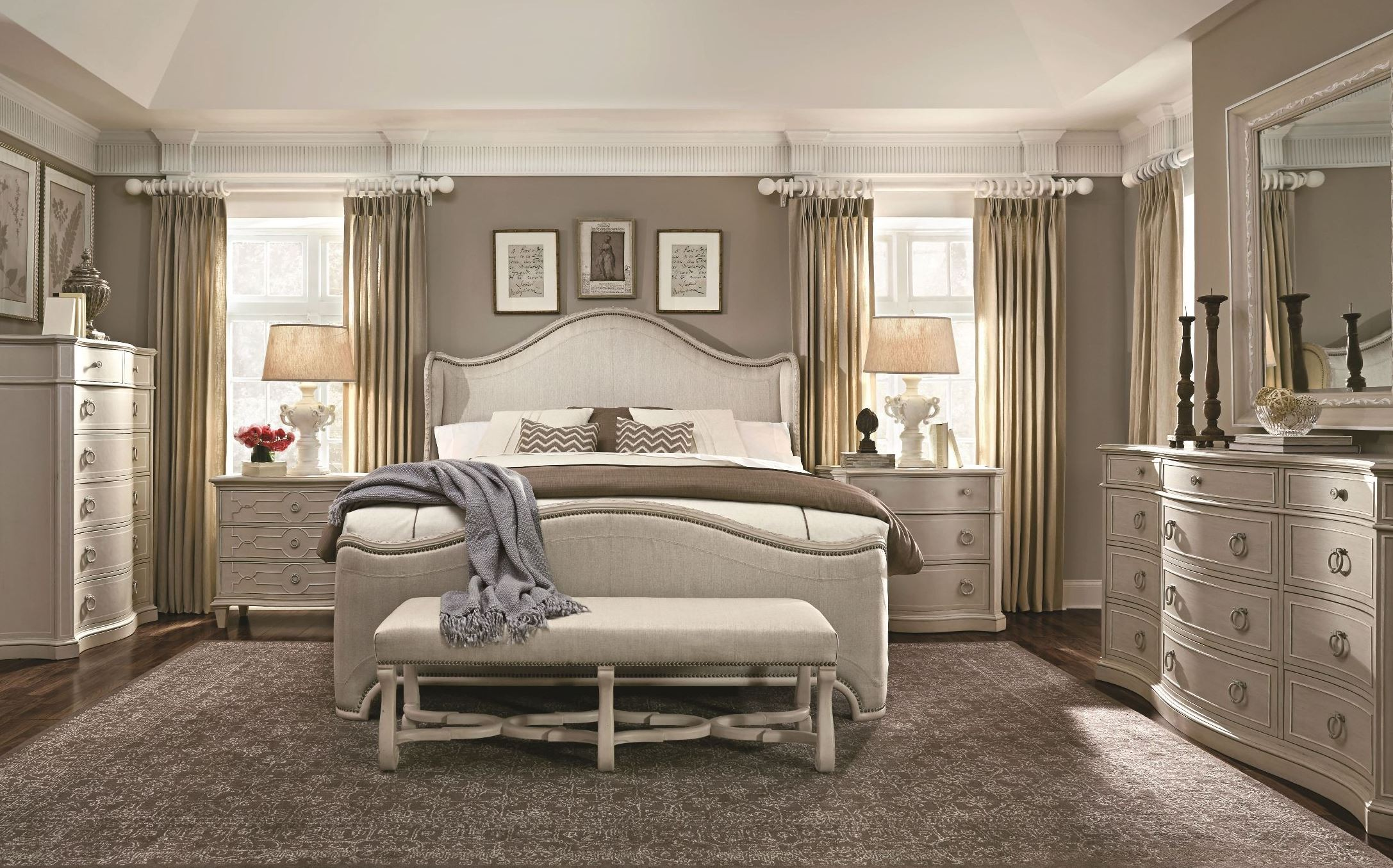 Chateaux grey upholstered shelter bedroom set from art - The room place bedroom furniture ...