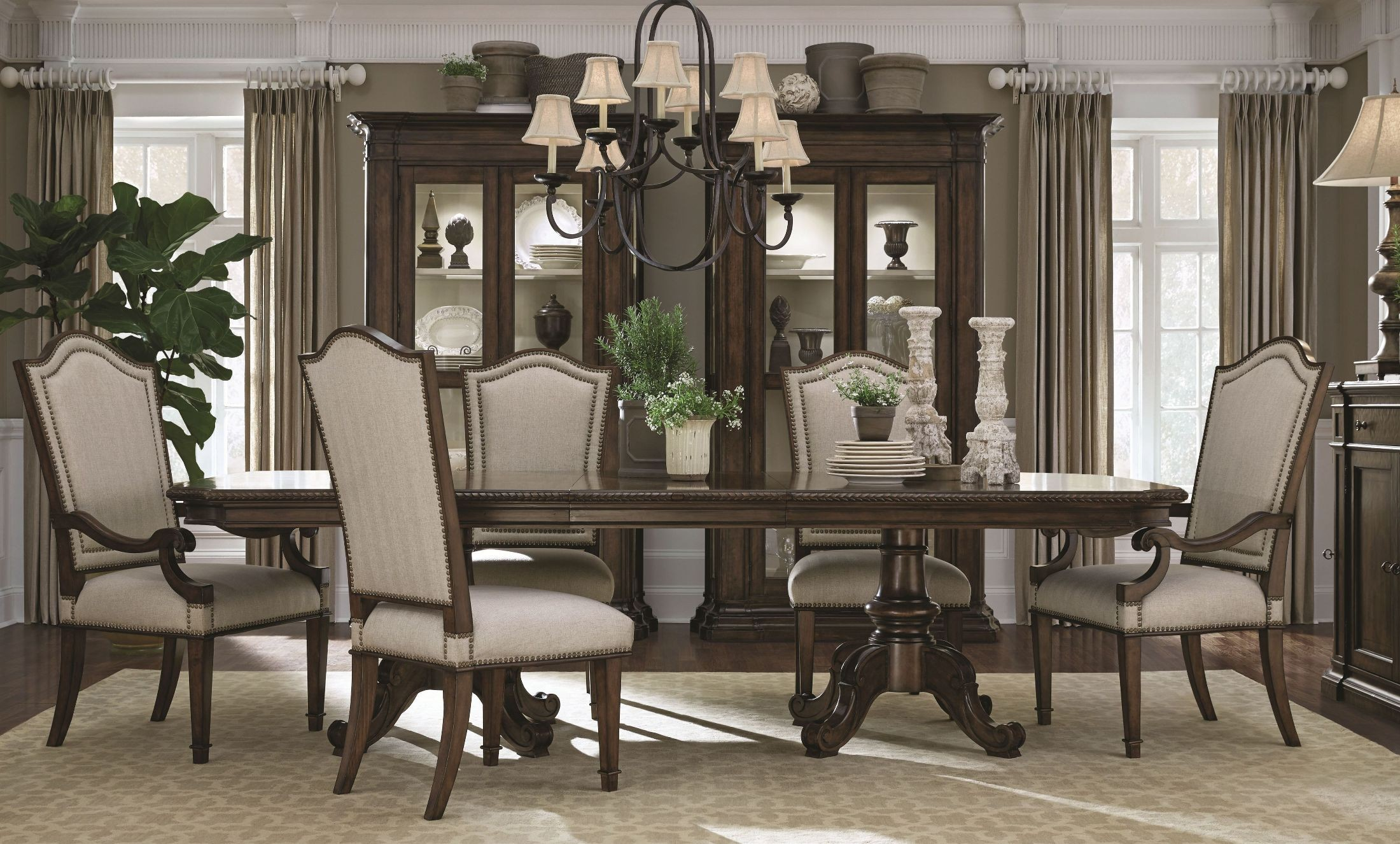 Chateaux walnut double pedestal extendable dining room set for Double t dining plan