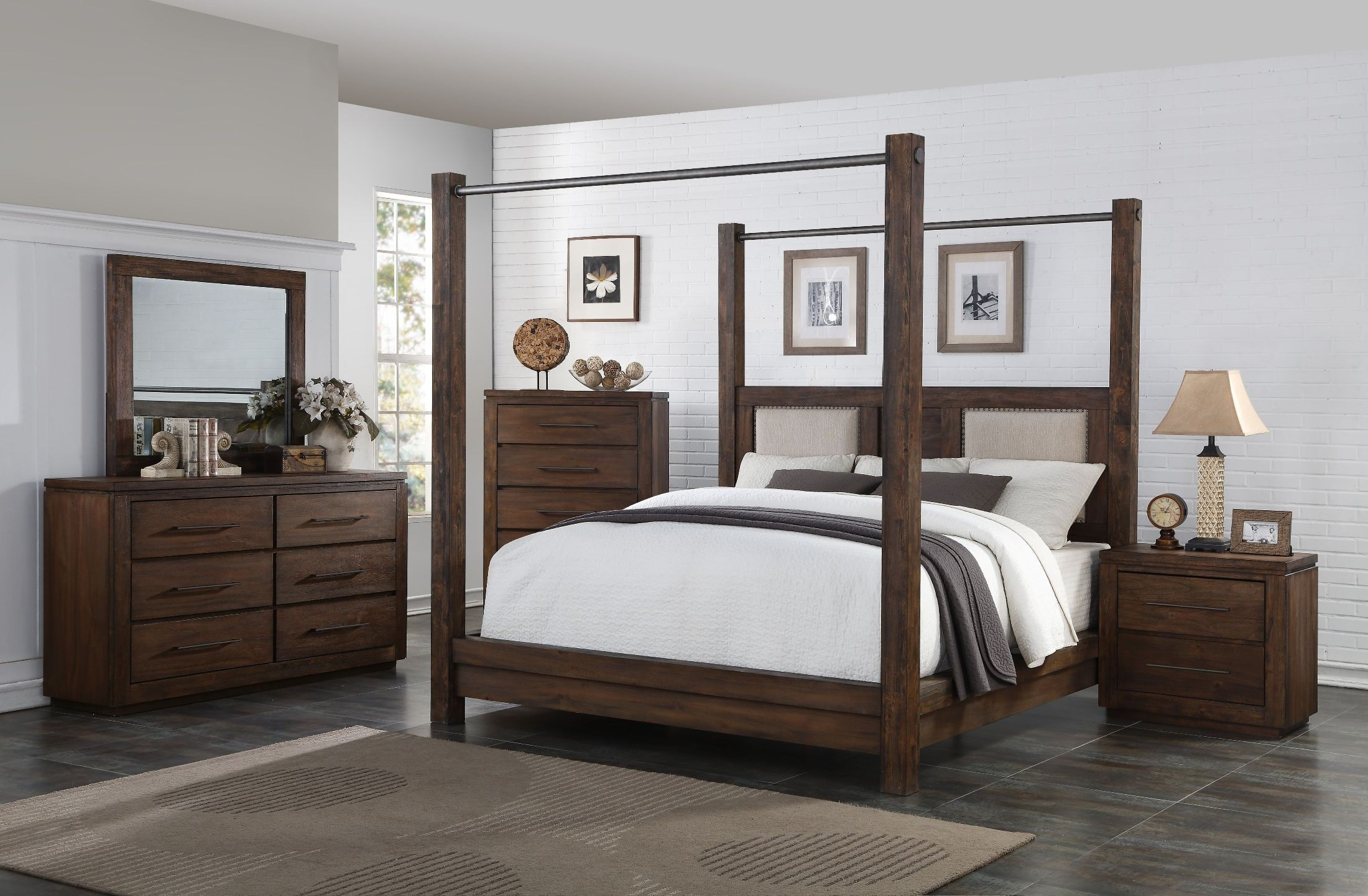 Heartstone Manor Caremel Poster Canopy Bedroom Set From New Classic Coleman Furniture