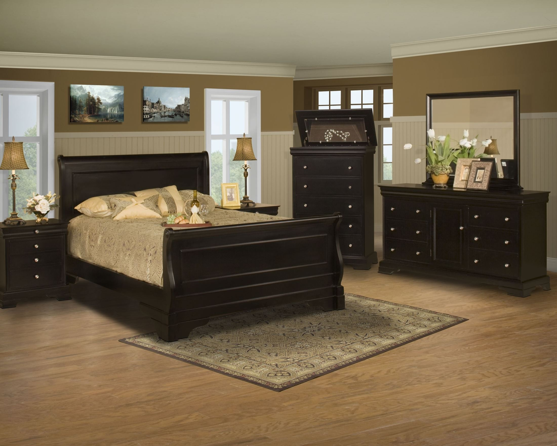 Belle Rose Black Cherry Sleigh Bedroom Set from New ...
