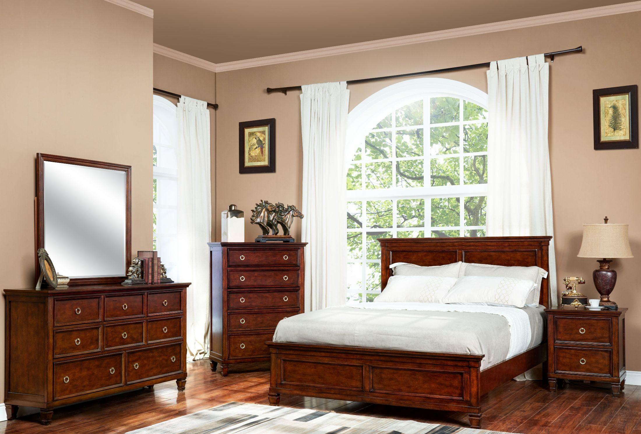 Tamarack Brown Cherry Panel Bedroom Set From New Classic | Coleman Furniture