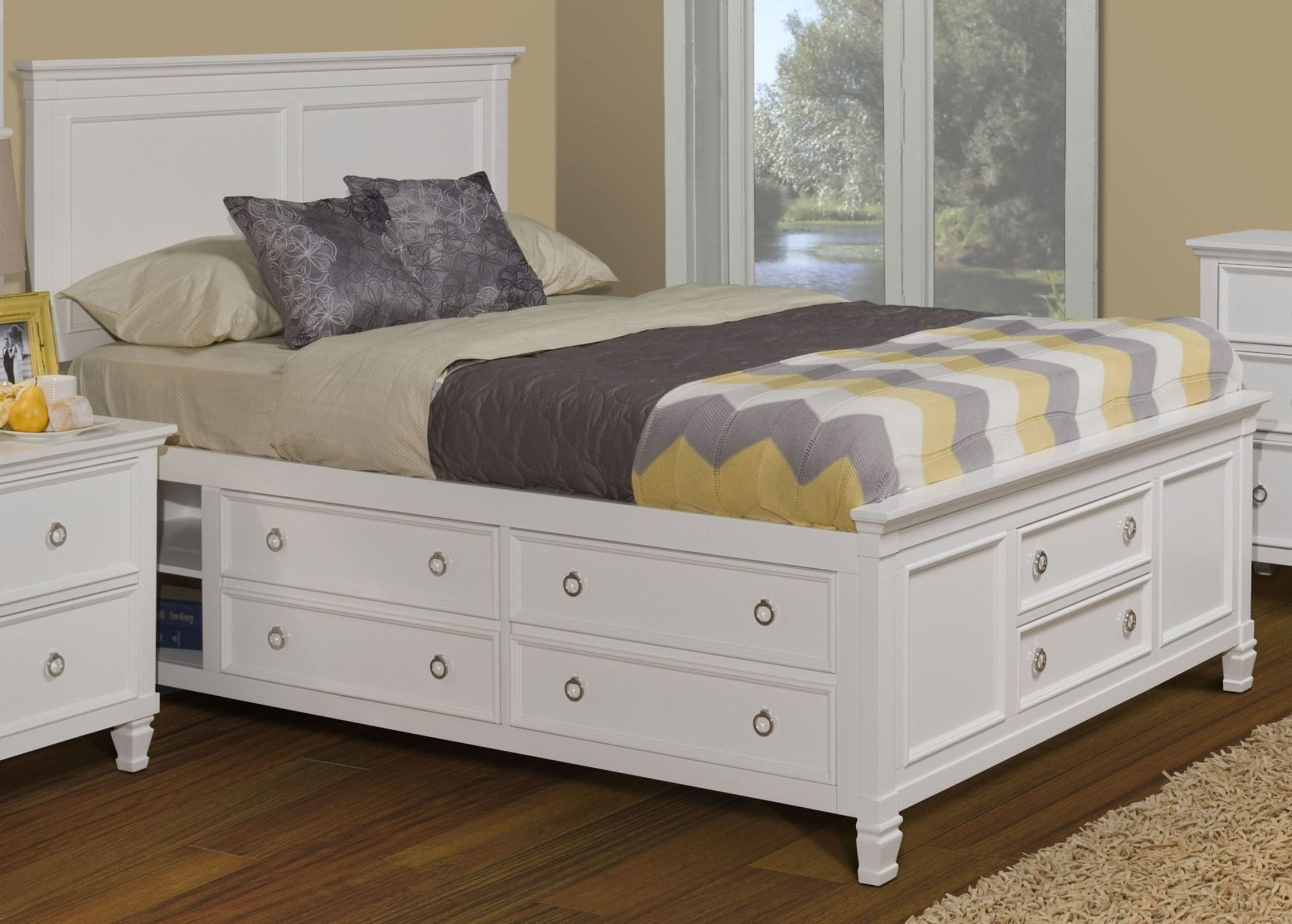 Tamarack white queen platform storage bed from new - Best platform beds with storage ...