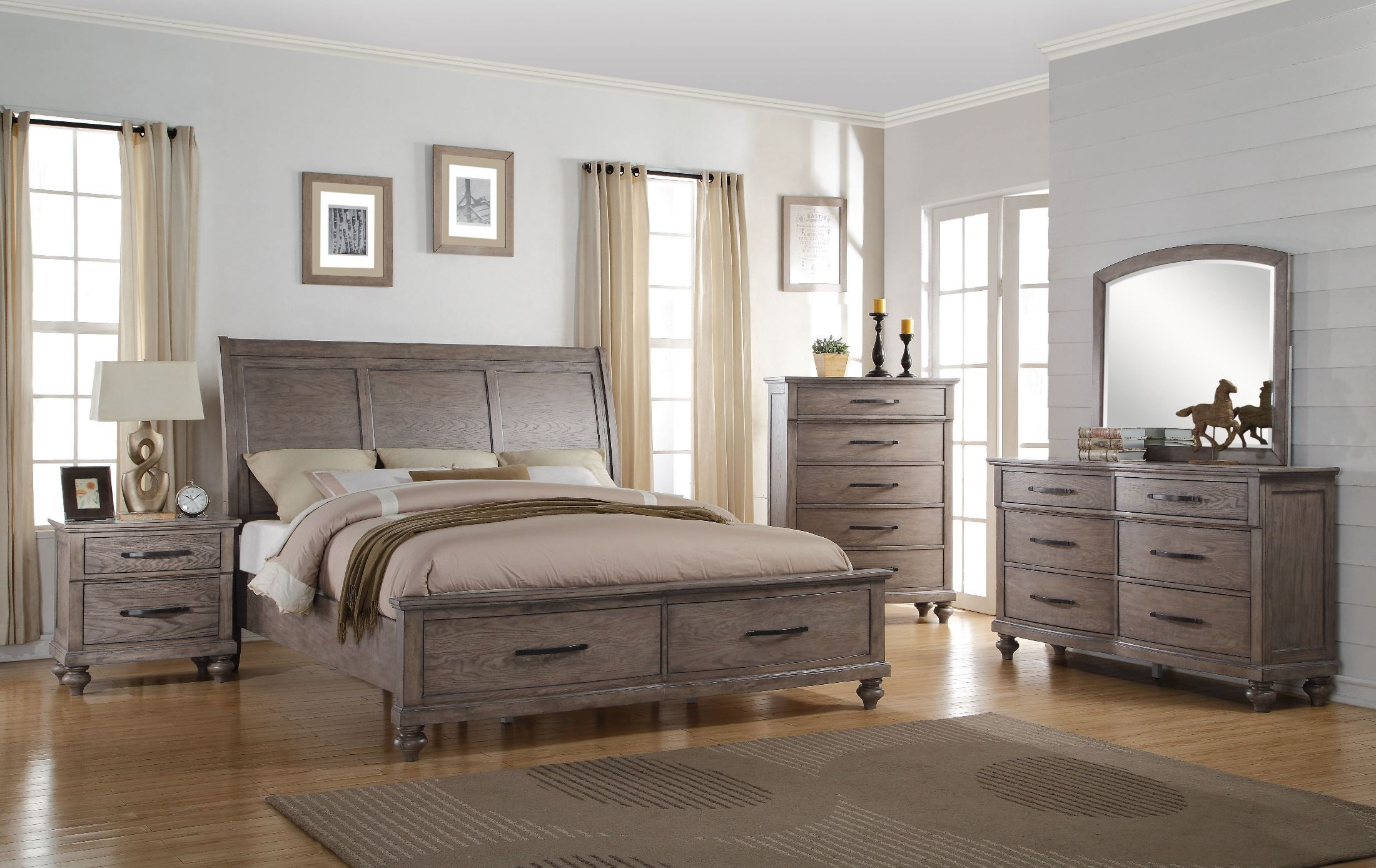 la jolla taupe queen sleigh storage bed from new classic coleman
