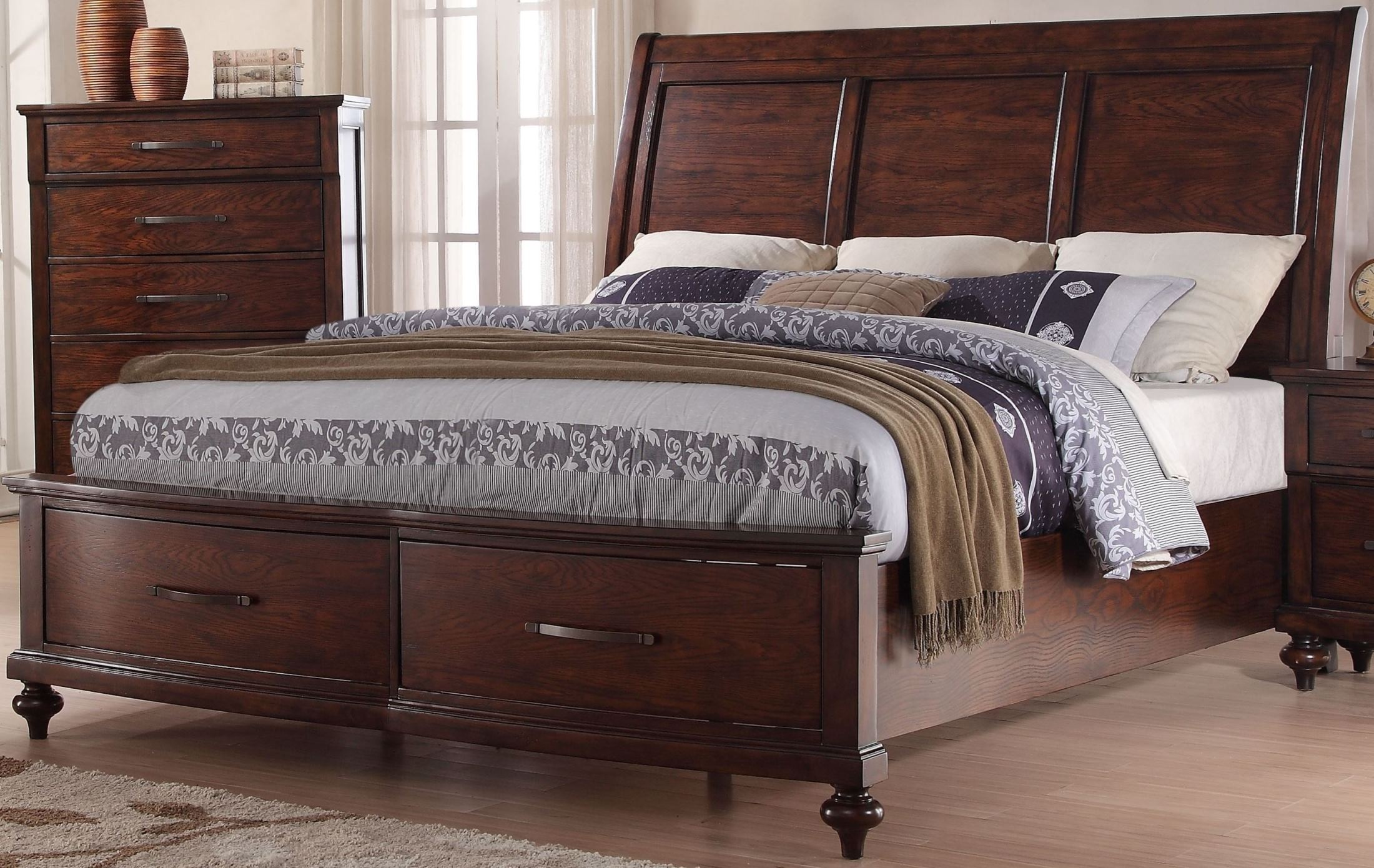 la jolla ranchero brown king sleigh storage bed from new classic coleman furniture. Black Bedroom Furniture Sets. Home Design Ideas
