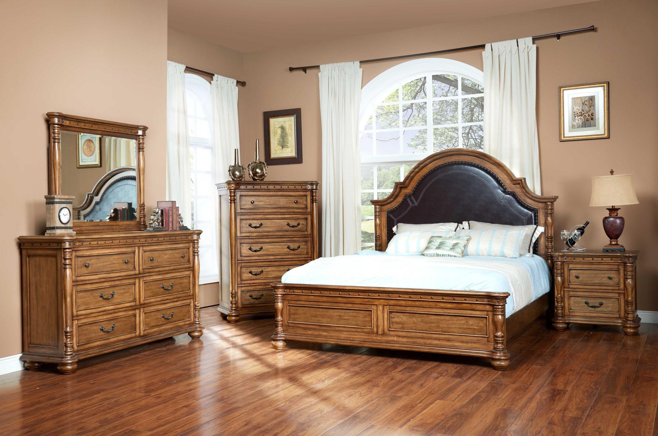 Bastion Umber Upholstered Panel Bedroom Set From New