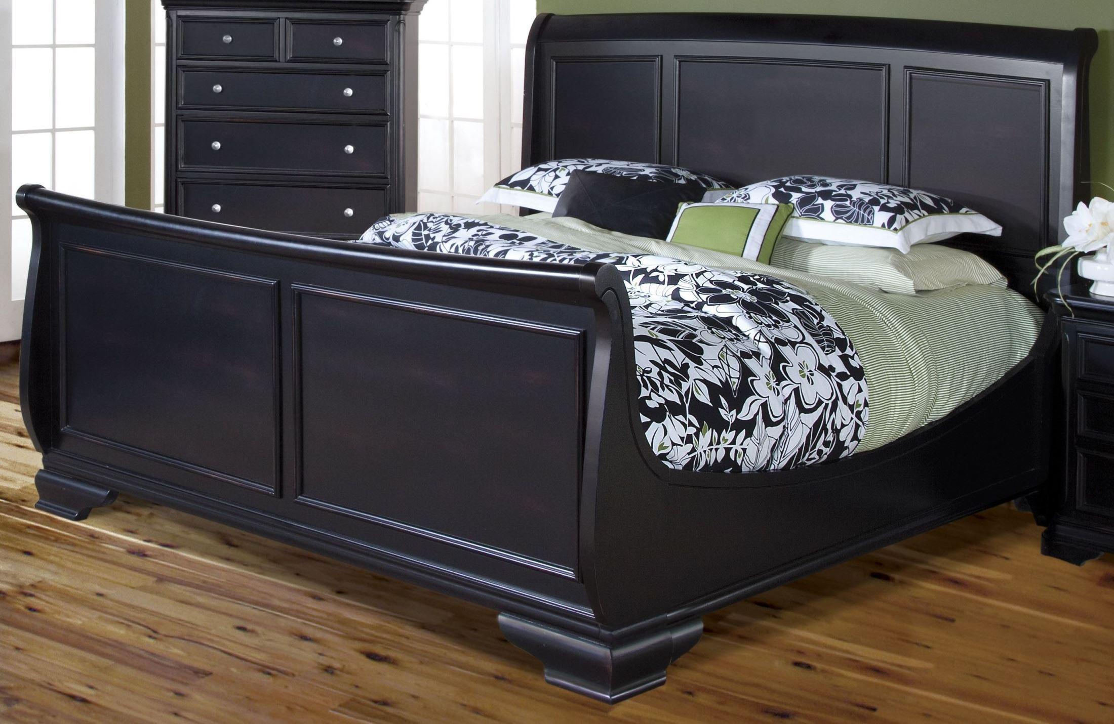 Black Sleigh Bed Queen Set