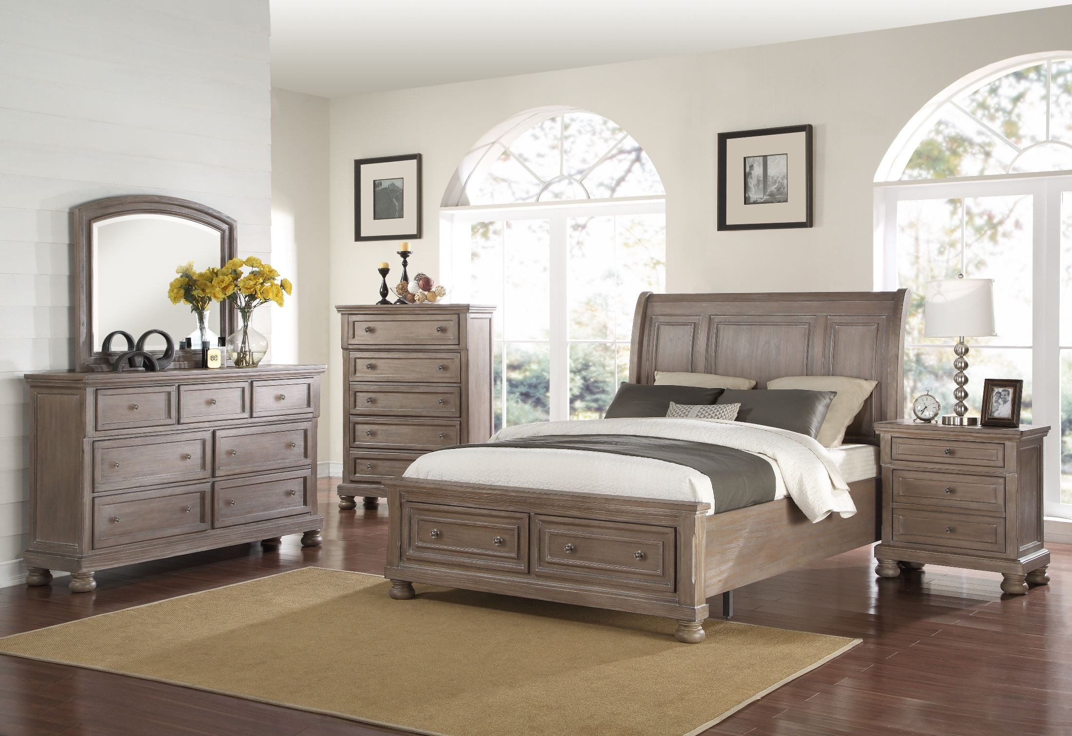 Allegra Pewter Storage Sleigh Bedroom Set From New