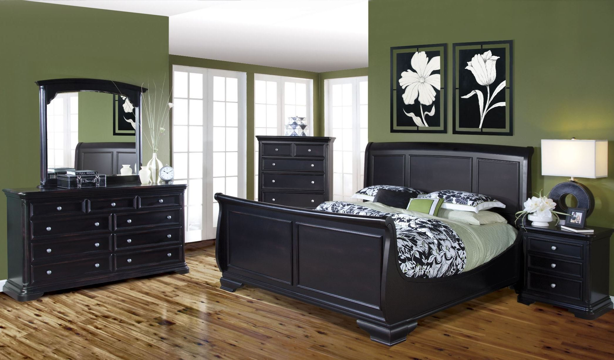 maryhill rubbed black sleigh bedroom set from new classics 2105 311 321 331 coleman furniture. Black Bedroom Furniture Sets. Home Design Ideas