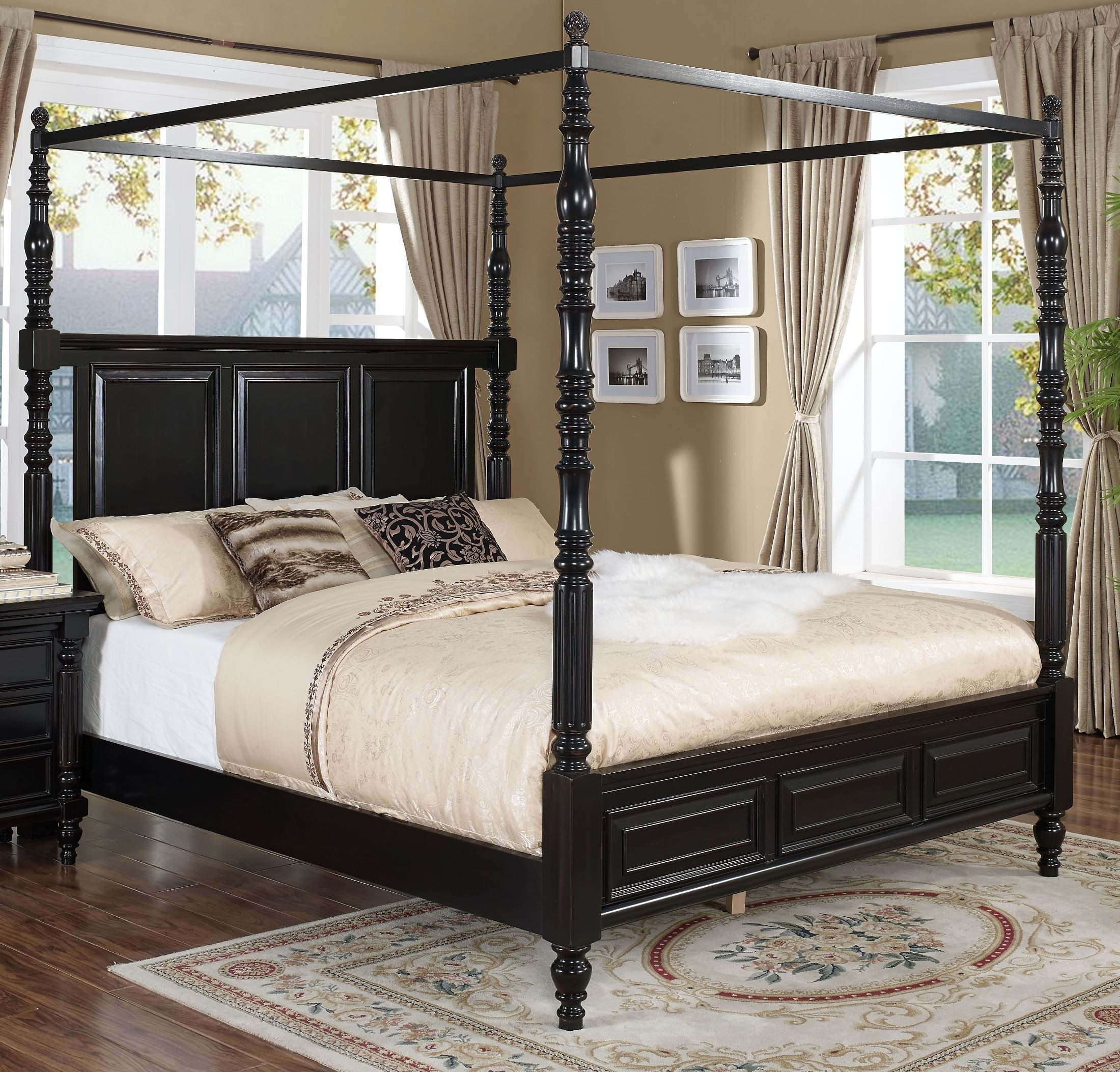Martinique Rubbed Black Canopy Bedroom Set With Drapes From New