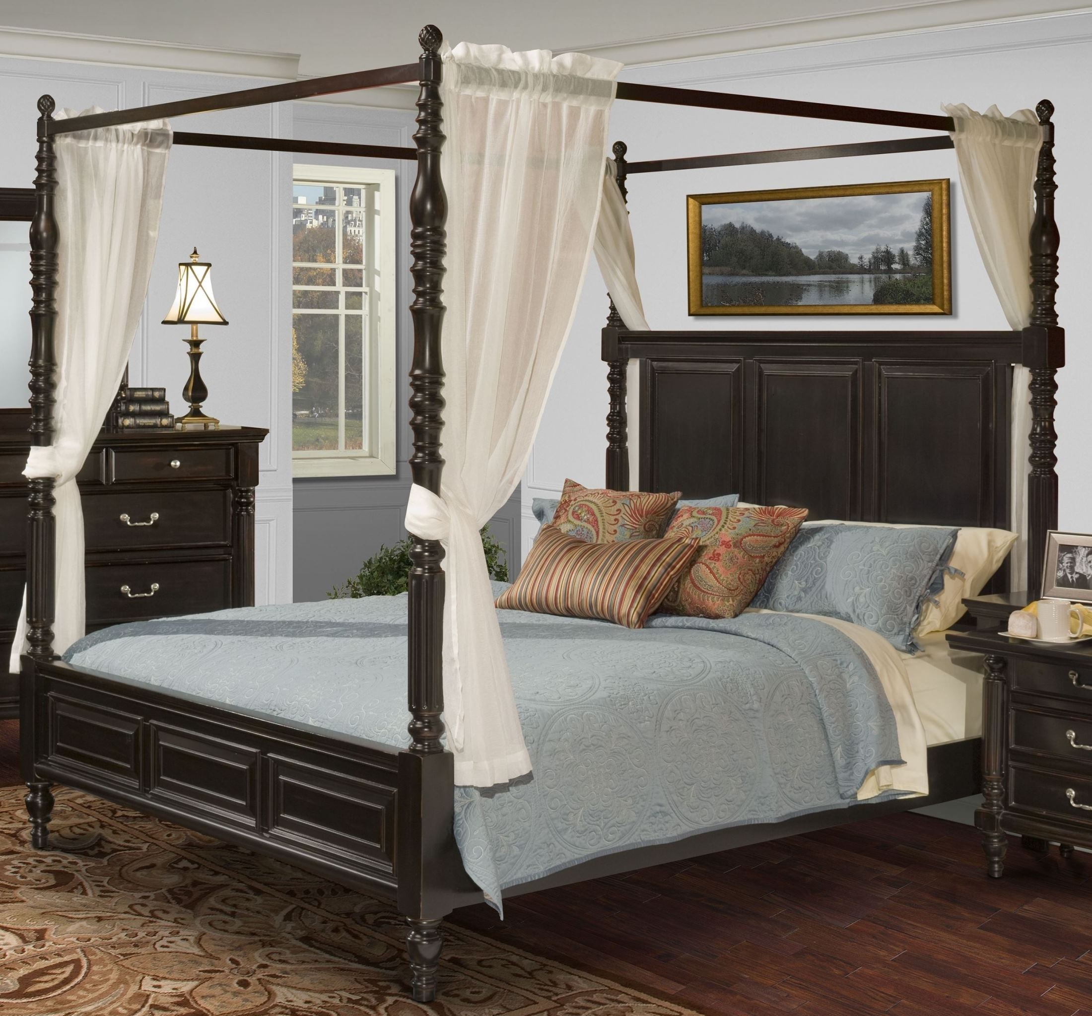 Martinique Rubbed Black King Canopy Bed With Drapes From